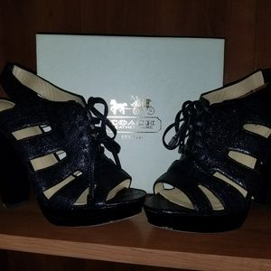 Coach lace up shimmery heels